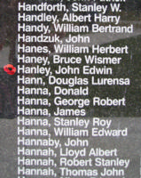 Memorial – Pilot Officer John Edwin Hanley is also commemorated on the Bomber Command Memorial Wall in Nanton, AB … photo courtesy of Marg Liessens