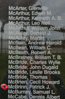 Memorial – Pilot Officer Patrick Joseph McBrinn is also commemorated on the Bomber Command Memorial Wall in Nanton, AB … photo courtesy of Marg Liessens