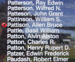 Memorial – Pilot Officer Allen Bruce Pattison is commemorated on the Bomber Command Memorial Wall in Nanton, AB … photo courtesy of Marg Liessens