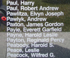 Memorial – Flight Sergeant Andrew Pawlyk is also commemorated on the Bomber Command Memorial Wall in Nanton, AB … photo courtesy of Marg Liessens