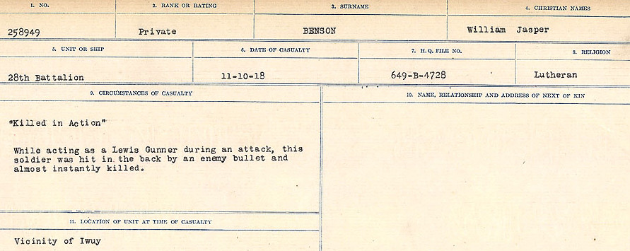 Circumstances of Death – Source: Library and Archives Canada.  CIRCUMSTANCES OF DEATH REGISTERS FIRST WORLD WAR Surnames:  Bell to Bernaquez.  Mircoform Sequence 8; Volume Number 31829_B016718; Reference RG150, 1992-93/314, 152 Page 559 of 670