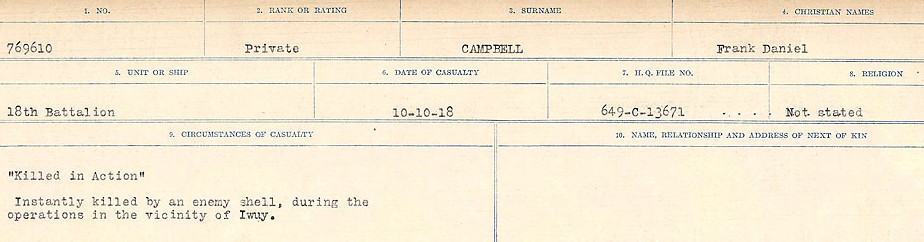 Circumstances of Death Registers – Source: Library and Archives Canada.  CIRCUMSTANCES OF DEATH REGISTERS, FIRST WORLD WAR Surnames:  Cabana to Campling. Microform Sequence 17; Volume Number 31829_B016726. Reference RG150, 1992-93/314, 161.  Page 669 of 1024