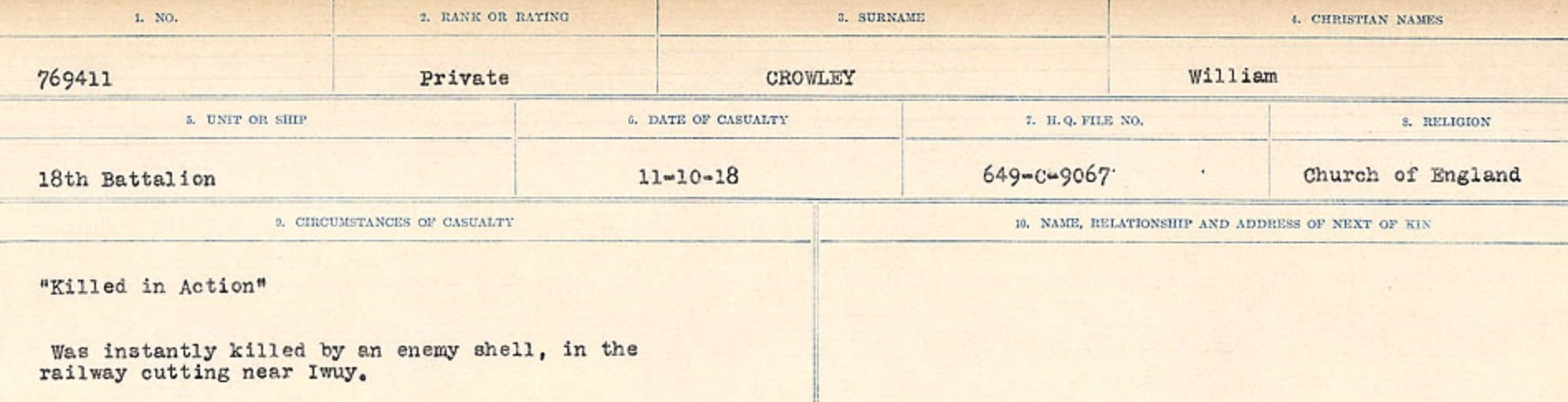 Circumstances of death registers – Source: Library and Archives Canada. CIRCUMSTANCES OF DEATH REGISTERS, FIRST WORLD WAR Surnames: Crossley to Cyrs. Microform Sequence 25; Volume Number 31829_B016734. Reference RG150, 1992-93/314, 169. Page 165 of 890.