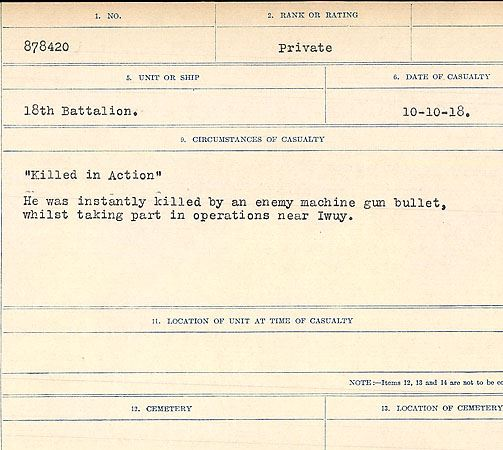 """Circumstances of death registers – """"Killed in Action"""" He was instantly killed by an enemy machine gun bullet, whilst taking part in operations near Iwuy.  Contributed by E.Edwards www.18thbattalioncef.wordpress.com"""