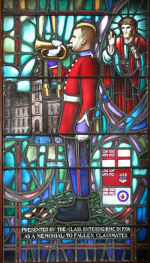 Stained Glass Window – 1385 Capt George Kenneth Crowe (RMC 1934) was the husband of Dorothy M. Crowe, of Montreal, Quebec. He served with the Royal Canadian Engineers. He died on Jun 2, 1940 at 39 years of age. He was buried in the Woodlawn Cemetery in Guelph, Ontario, Canada Sec. 11. Block E. Lot 3. Grave 4. His name is listed on the commemorative bricks at the June Beach Centre.