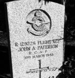 Grave marker – Flight Sgt. Paterson rests peacefully neath the bushes of St. Andrew's Cemetery.