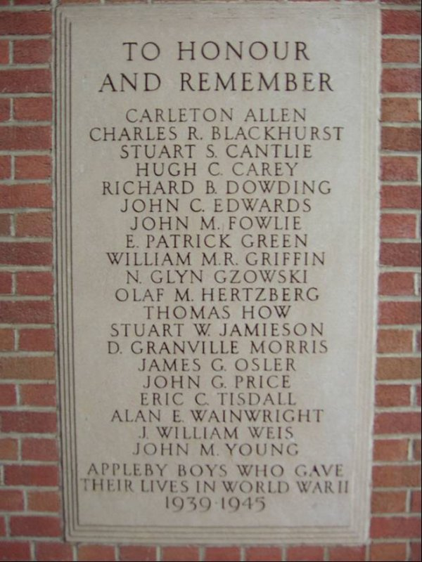 Memorial – A plaque on the Memorial School Building recalls members of the Appleby College (Oakville) Community, killed in the Second World War. 