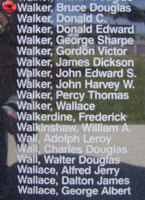 Memorial – Flying Officer Bruce Douglas Walker is also commemorated on the Bomber Command Memorial Wall in Nanton, AB … photo courtesy of Marg Liessens