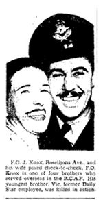 Newspaper Clipping – From the Toronto Star 1945. A photo of Jack Knox, the brother of Victor, who served with him in 419 Moose Sqn. and completed 40 trips.  He was instructor in England before being shipped home.
