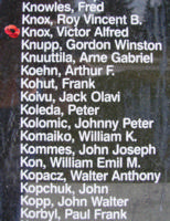 Memorial – Pilot Officer Victor Alfred Knox is also commemorated on the Bomber Command Memorial Wall in Nanton, AB … photo courtesy of Marg Liessens