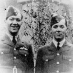 """Photo of Bernard Labarge – Pilot Officer Bernard Henry Labarge (left) and his brother Flight Sergeant Leo John Labarge (right) Pilot Officer Bernard (""""Bern"""") Labarge was second Pilot on a bombing mission over Germany on the night of March 12, 1943. Flying with the 405th Squadron, the mission was completed successfully but the returning airplanes came under heavy enemy fire. Pilot/Officer Labarge's airplane wreckage was discovered in France near the town of Aisne where he and his five fellow airmen were discovered and buried by the local townsfolk.  He was 28 years old and is buried in the communal cemetery at La Malmaison, Aisne, France.  Flight Sergeant Leo Labarge was two years younger than his brother Bernard and was known as a young air gunner with a great sense of humour and adventure. He was shot down on the 30th day of September 1942 near Trigh Capuzzo, Lybia and was buried there by German forces. His body was not discovered until March 1943 and news of his death was confirmed to his mother during the same week as the death of her older son, Pilot/Officer Bernard Labarge. Flight Sergeant Leo Labarge was with the 148th Squadron and is buried at the Knightsbridge War Cemetery, 25 kilometres west of Tobruk, in open country south of the main road from Tobruk to Derna and Benghazi."""