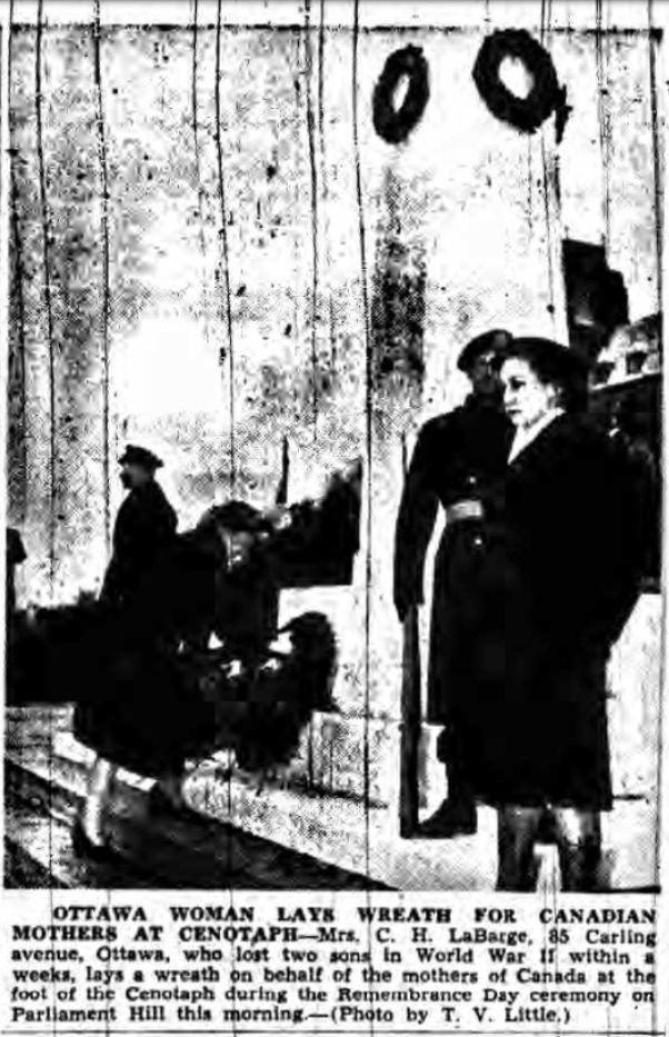 Newspaper Clipping – Mrs Martha Labarge Silver Cross Mother 1947. Submitted for the project, Operation Picture Me