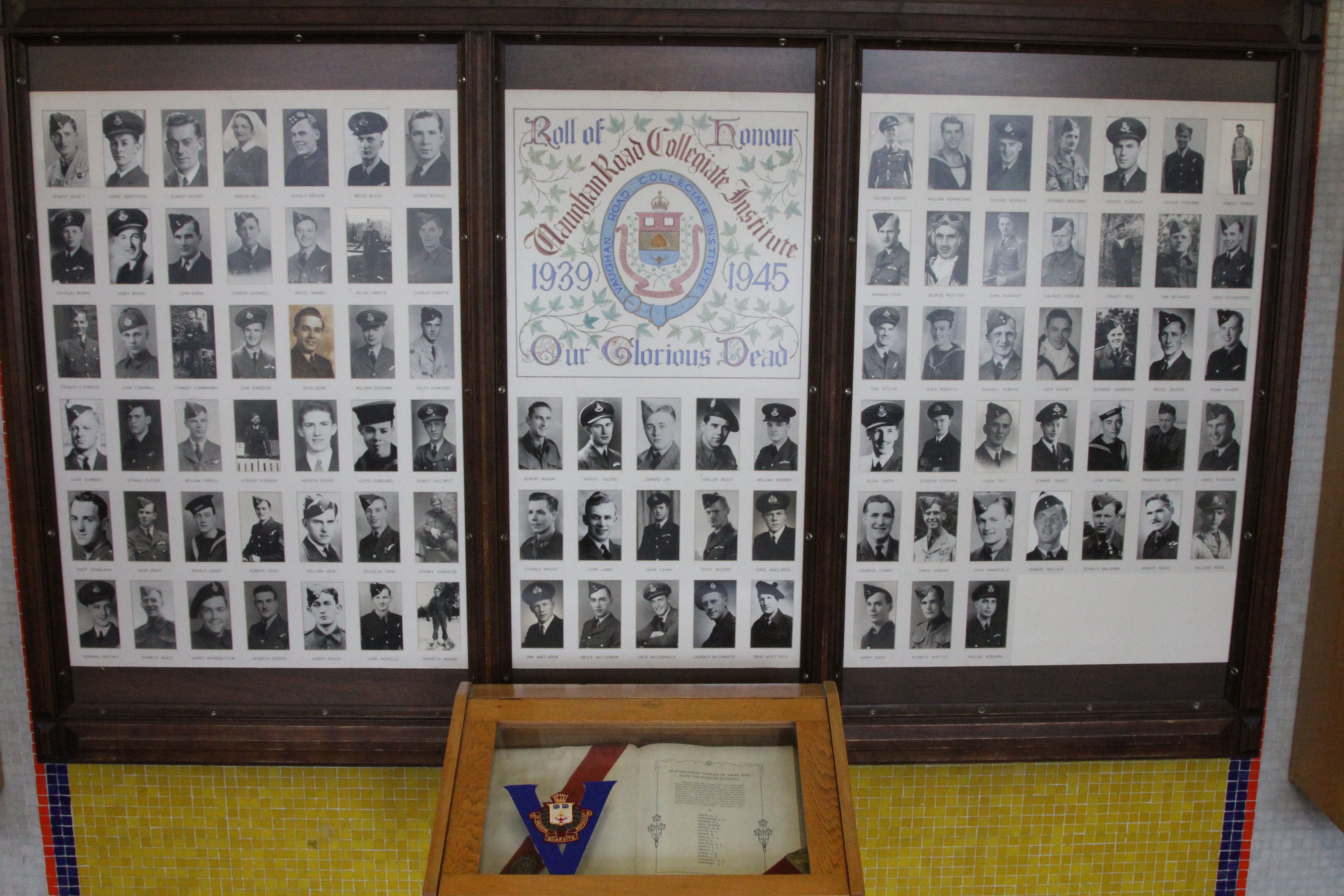 Memorial – In memory of the students from the Vaughan Road Collegiate Institute  (Toronto) who went away to war and did not come home. Submitted for the project, Operation Picture Me