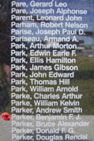 Memorial – Sergeant Benjamin Frederick John Parker is commemorated on the Bomber Command Memorial Wall in Nanton, AB … photo courtesy of Marg Liessens