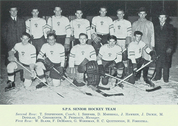 Group Photo – Photograph from Torontonensis,  University of Toronto's yearbook in 1942 shows Prideaux's involvement on the School of Practical Sciences' (S.P.S.) Senior Hockey Team. Prideaux is seen in the second row and was the manager. Robert Forestell, shown in front row, was also killed in the Second World War.