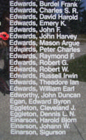 Memorial – Flying Officer John Harvey Edwards is also commemorated on the Bomber Command Memorial Wall in Nanton, AB … photo courtesy of Marg Liessens