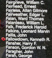 Memorial – Flight Sergeant Kenneth Ross Fallowdown is also commemorated on the Bomber Command Memorial Wall in Nanton, AB … photo courtesy of Marg Liessens