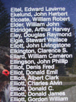 Memorial – Warrant Officer Class II Donald Emil Elliot is also commemorated on the Bomber Command Memorial Wall in Nanton, AB … photo courtesy of Marg Liessens