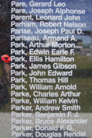 Memorial – Sergeant Ellis Hamilton Park is commemorated on the Bomber Command Memorial Wall in Nanton, AB … photo courtesy of Marg Liessens