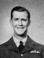 Photo of Frederick Higgins – Higgins, Frederick Alexander - Flight Sergeant. Born 23rd August, 1918, at Niagara Falls, Ont. Educated at Stamford Collegiate Institute. Entered the service of the Bank 2nd May, 1938. Served at Niagara Falls Centre, Fort Erie and Thorold, Ont. Enlisted 31st August, 1940, from Niagara Falls Centre in R.C.A.F. Sergeant Pilot 22nd April, 1941; Flight Sergeant 1st November, 1941. Trained at St. Thomas, London, and Dunnville, Ont. Overseas in April, 1941. Attached R.A.F. Served with 411 Squadron on coastal patrol, and later with 403 (Wolf) Squadron, flying Spitfire fighters. Took part in many operational flights across English Channel. Killed in action over own base at Martlesham Heath, Suffolk, 8th November, 1941. Buried in Ipawich Cemetery, Suffolk, 12th November, with full military honours. Flight Sergeant Higgins was a champion track runner, and gold medallist at the Niagara Falls musical festivals.  From a memorial booklet prepared by the Canadian Bank of Commerce.