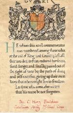 Scroll – Harry Fradsham's Certificate of Death.