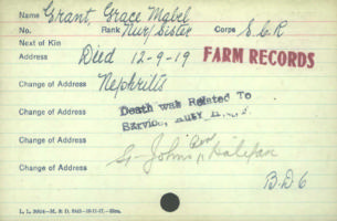 Circumstances of death – Nursing Sister Grace Mabel Grant dies on Sep 12 1919. Canadian Army Medical Corps. Died of Nephritis ( inflammation of the kidneys)   http://www.collectionscanada.gc.ca/microform-digitization/006003-119.01-e.php?q2=36&q3=2875&sqn=715&tt=1189&PHPSESSID=1qcus4r4c7eqgdrv3v1pk1lrd4i91djs7riehnmfd11h7g7tvqu0