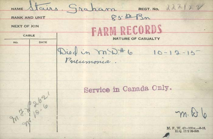 Circumstances of Death Registers – Pte Graham Stairs Canadian Infantry,Nova Scotia Reg, 85th Bn dies of pneumonia Dec 10 1915 http://www.collectionscanada.gc.ca/microform-digitization/006003-119.01-e.php?q2=36&q3=2925&sqn=1308&tt=1397&PHPSESSID=62h0qr777o6ul2n0ri5d1t02j5