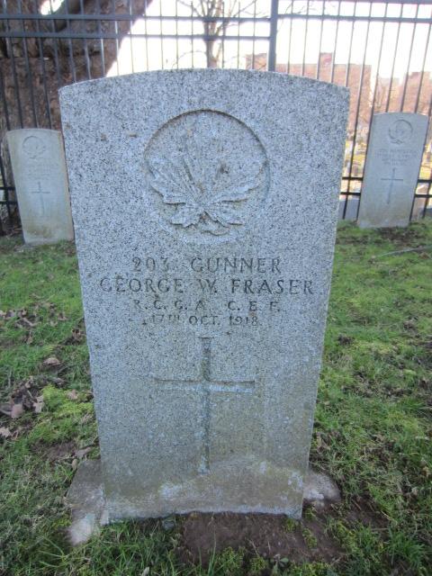 Grave Marker – Grave marker for George Fraser at Fort Massey Cemetery, Halifax, Nova Scotia, Canada. Image taken 26 December 2015 by Tom Tulloch.