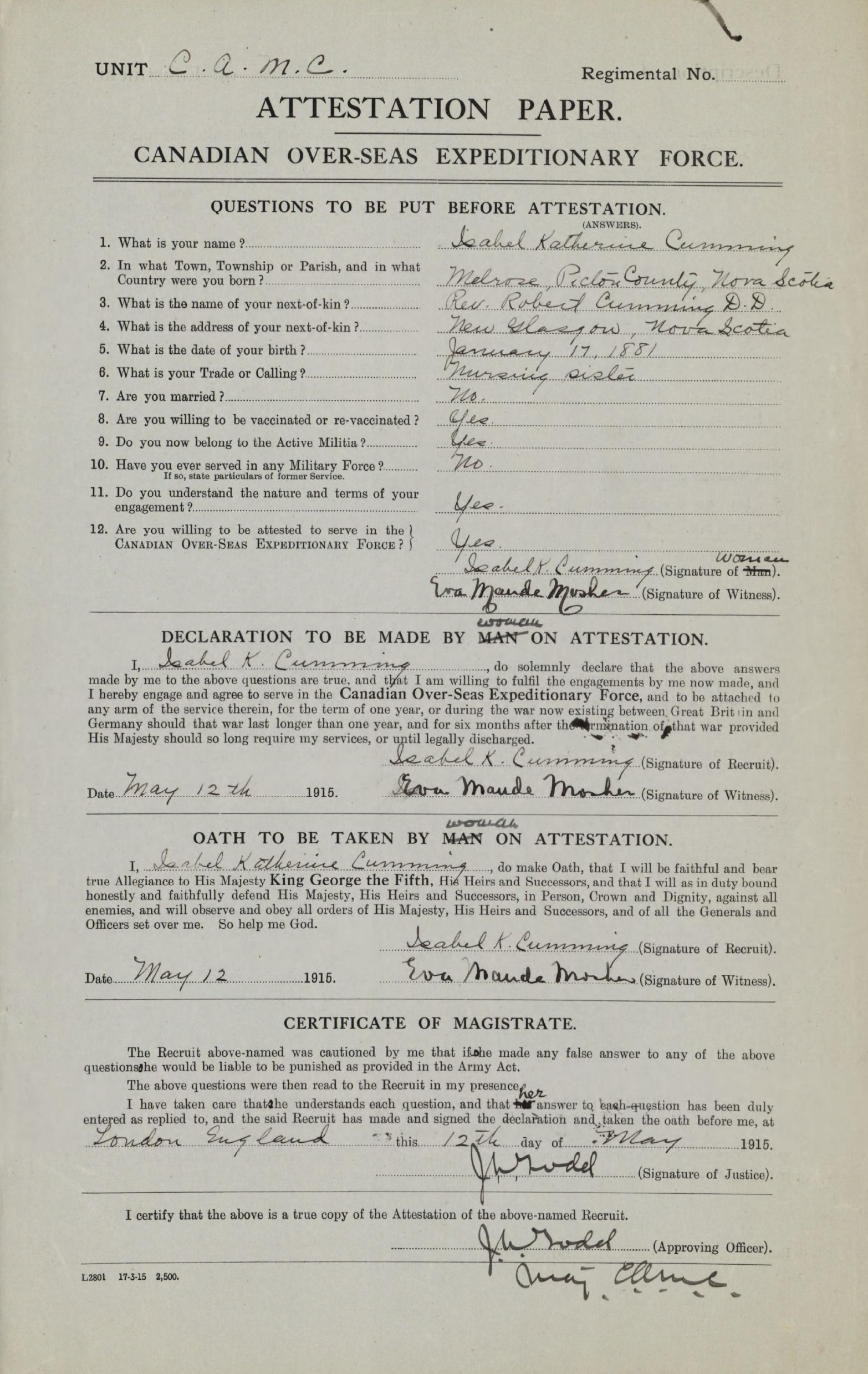 Attestation Paper – Attestation Paper   Source:  Library and Archives Canada: Soldiers of the First World War