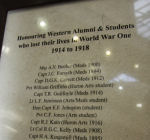 Memorial Plaque – Roll of Honour is located in the Middlesex Memorial Tower, University College. University of Western Ontario,  London Ontario.  Courtesy of University of Western Ontario Gazette