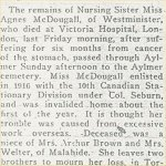 Press Clipping – Newspaper death notice from the Aylmer Express for Nursing Sister Agnes McDougall who is buried at the Aylmer Cemetery in Elgin County, Ontario, Canada.