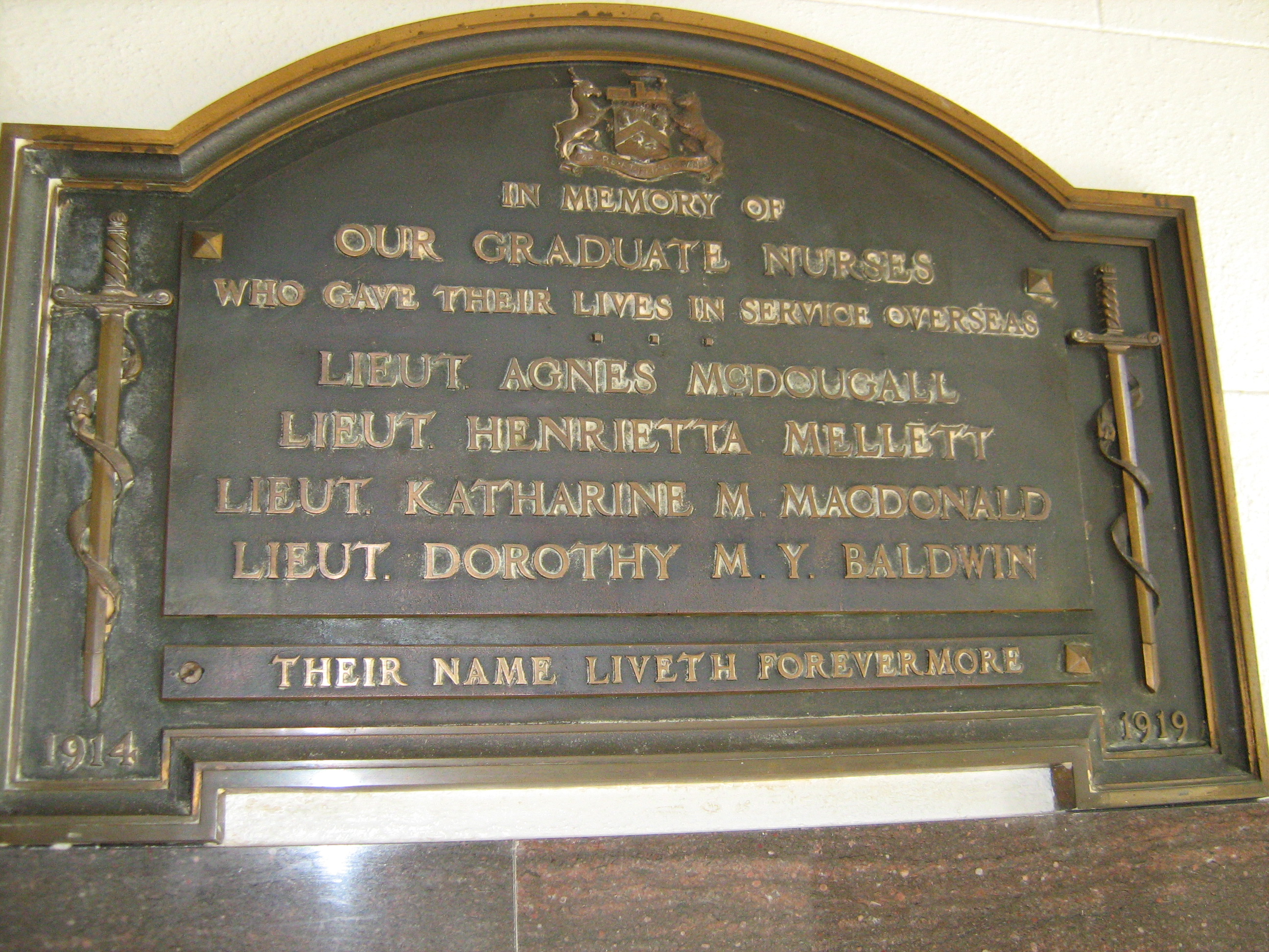 Memorial – Honour Roll plaque in the Victoria Hospital Nursing School (now closed) South Street, London Ontario. From Dr Jonathan Vance Western University by permission