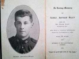 Photo of Arthur Riley – Sgt. Arthur Riley obituary notice 1920