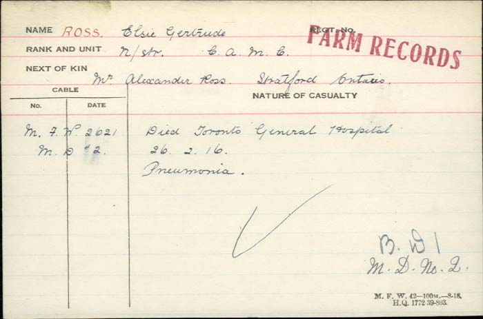 Circumstances of Death Registers – Nursing Sister Elsie Gertrude Ross - Canadian Army Medical Corps. Died from pneumonia at the Toronto General Hospital.