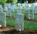 Cemetery – Pte. Thomas Sutherland's grave is located within this military graves section in Woodlawn Cemetery, Guelph, Ontario.