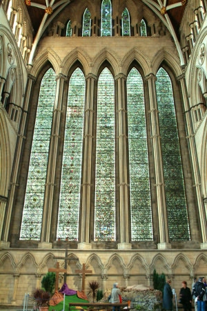 Memorial – Five Sisters Window at York Minster where Nursing Sister McEachen is commemorated on Panel 6.