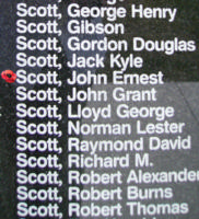 Memorial – Warrant Officer Class II John Ernest Scott is commemorated on the Bomber Command Memorial Wall in Nanton, AB … photo courtesy of Marg Liessens