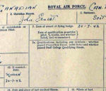 Document – This is Scott's RAF Form 373 (obv) which gives his personal information.  It is written in his own hand.  He was married 20 Jul 1942 at age 22.   (Note that he received his Flying Badge the same day.)  Source: Library & Archives Canada via R. Whitehouse