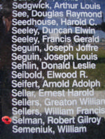Memorial – Flying Officer Robert Gilroy Selman is commemorated on the Bomber Command Memorial Wall in Nanton, AB … photo courtesy of Marg Liessens