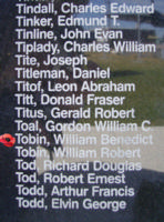 Memorial – Warrant Officer William Benedict Tobin is commemorated on the Bomber Command Memorial Wall in Nanton, AB … photo courtesy of Marg Liessens