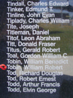Memorial – Warrant Officer Class II William Robert Tobin is commemorated on the Bomber Command Memorial Wall in Nanton, AB … photo courtesy of Marg Liessens