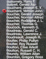 Memorial – Flying Officer Vernon John Bouchard is also commemorated on the Bomber Command Memorial Wall in Nanton, AB … photo courtesy of Marg Liessens