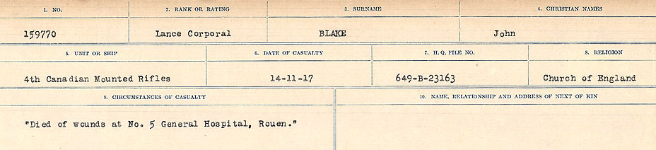 Circumstances of Death Registers – Source: Library and Archives Canada.  CIRCUMSTANCES OF DEATH REGISTERS FIRST WORLD WAR Surnames: Birch to Blakstad. Mircoform Sequence 10; Volume Number 31829_B034746; Reference RG150, 1992-93/314, 154 Page 689 of 734