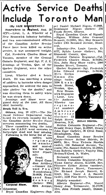 Newspaper Clipping – Mentioned in article. Memorialized on the pages of the Globe and Mail. Submitted for the project, Operation Picture Me