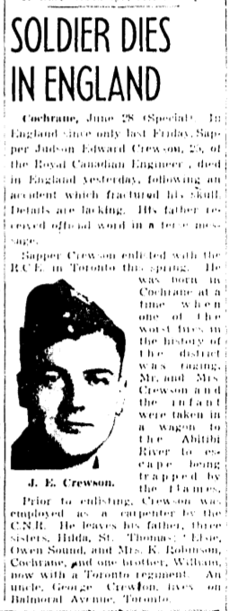 Newspaper clipping – Memorialized on the pages of the Globe and Mail. Submitted for the project, Operation Picture Me.