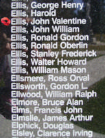 Memorial – Sergeant John Valentine Ellis is also commemorated on the Bomber Command Memorial Wall in Nanton, AB … photo courtesy of Marg Liessens