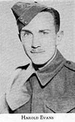 Photo of Harold Evans – Picture from West Hill High School Annual 1944 (Montreal). Photo supplied by McGill University.