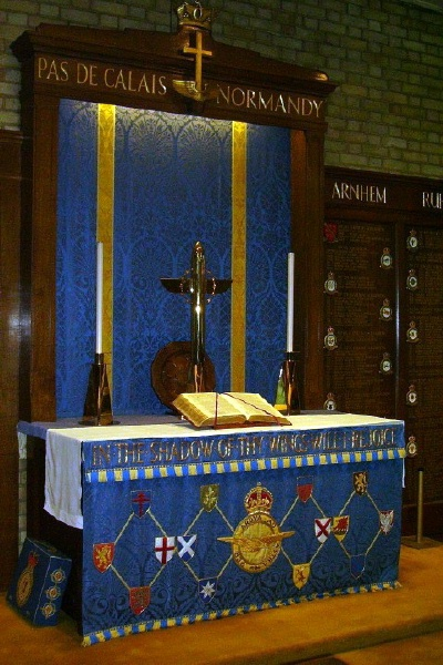 Memorial – Pilot Officer James Duncan Fairbairn is also commemorated at St George's Royal Air Force Chapel of Remembrance - Biggin Hill … the Altar … Photo courtesy of Marg Liessens