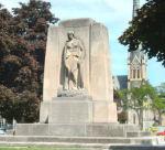 "Galt War Memorial – The Cambridge (Galt) War Memorial, Queen's Square, Cambridge, Ontario.  Circa 1930. Frances Loring and William Lyon Somerville.  Inscribed:""TO THEM ALL HONOUR / GUARD YE THEIR VICTORY / 1914-1918 / 1939-1945 / 1950-1953."""