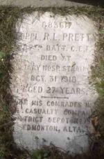 Original Headstone – Original headstone erected by Corporal Pretty's comrades, November 1918